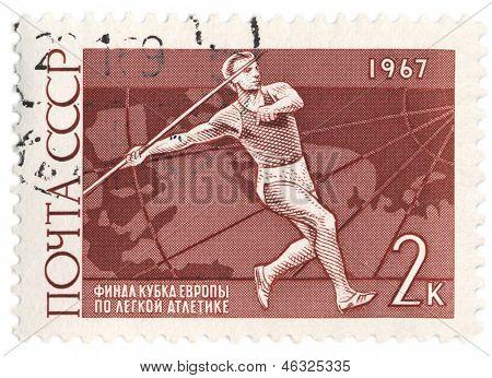 Javelin Thrower On Post Stamp