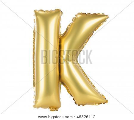 Gold balloon font part of full set upper case letters, K