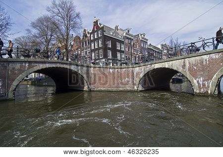 Bridges Over The Intersection Of Channels In Amsterdam.