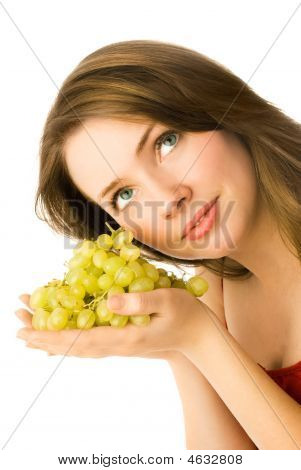 Beautiful Woman With Grapes
