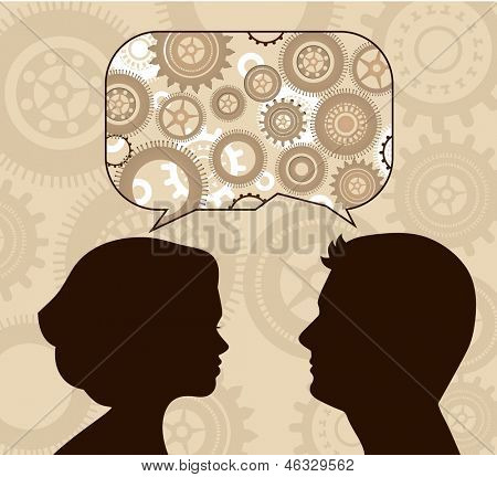 Speech bubble with gears and profiles