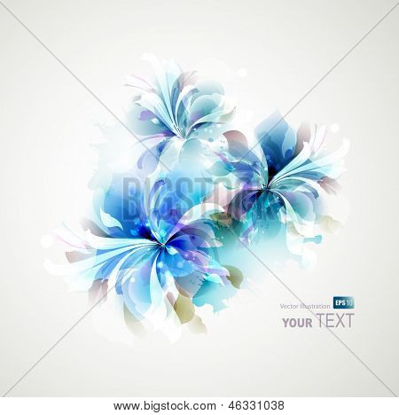 Tender background with blue abstract flowers
