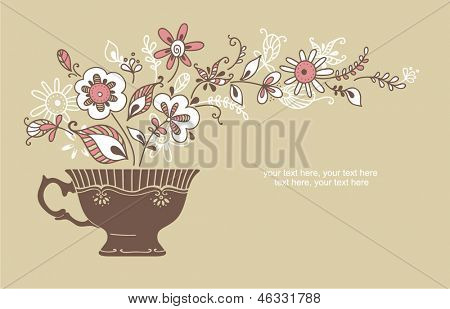 vector coffee or tea background with space for text