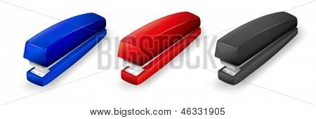 Illustration of the three different colors of staplers on a white background