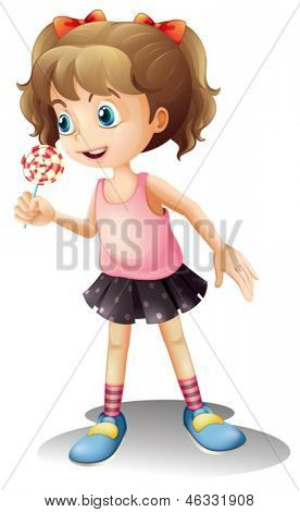Illustration of a cute little girl holding a lollipop on a white background