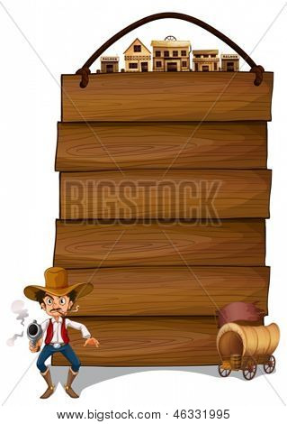 Illustration of an empty signboard with a cowboy and a wagon on a white background