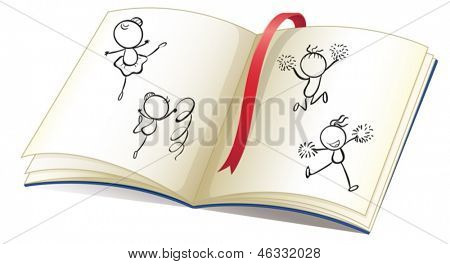 Illustration of a book with a ribbon and images of kids dancing on a white background