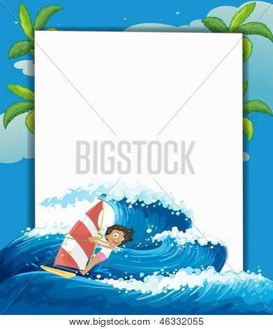 Illustration of a girl surfing in front of a big empty signage