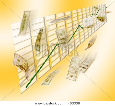 Graph Showing Increase W/ Flying Dollar Bills