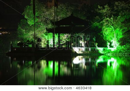 Lake Iceland And Pagoda - Night View With Illumination