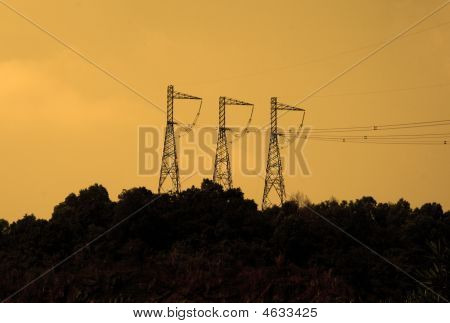 High Voltage Transmission Towers At Hydro Power Station In Vietnam