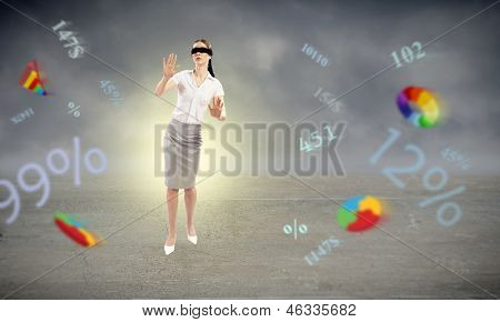 young blindfolded woman