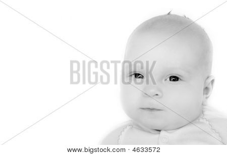 Bw Baby Portrait Over White