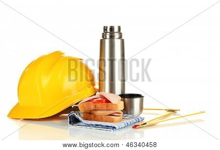 Lunch worker isolated on white