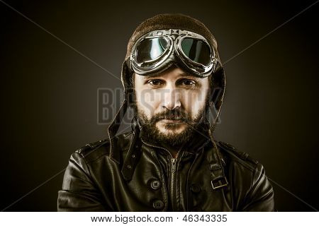 Proud, Fighter pilot with hat and glasses era, vintage style