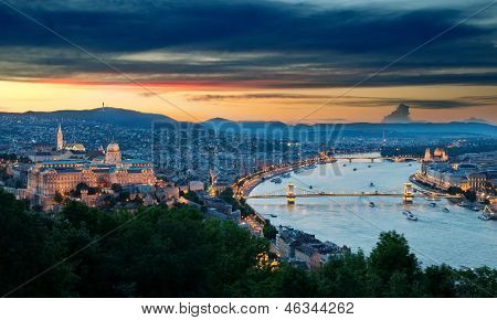 Panoramic View Of Budapest At Dusk