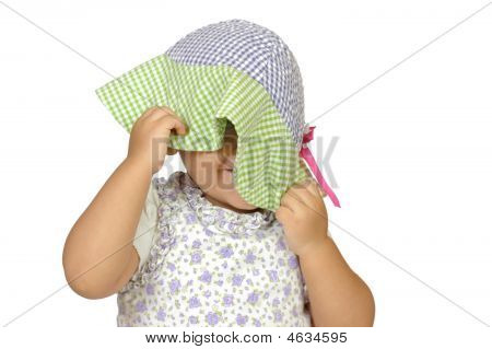 Girl Playing Peekaboo, Two Years Old
