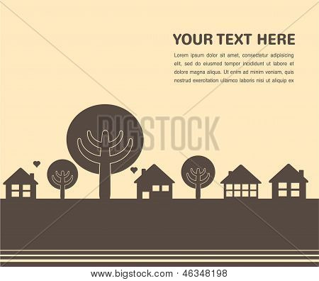 card template with houses and trees