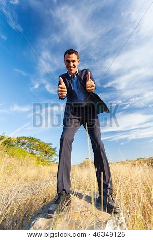 cheerful young businessman on top of rock giving thumbs up outdoors