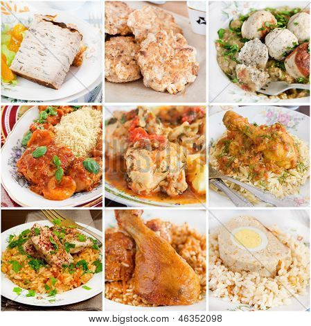 Collage of chicken dishes