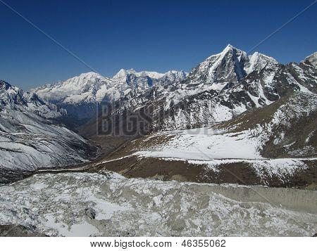 Khumbu Yul La And Nuptse Glacier