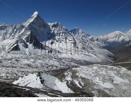 Ama Dablam And End Of The Nuptse Glacier