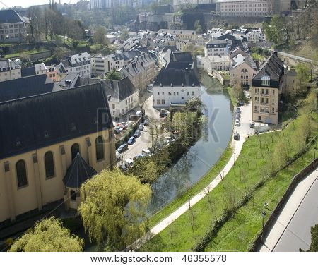 Luxembourg. Lower City. Look On The River And Houses.