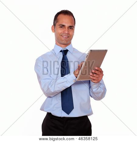 Latin Adult Man Using His Tablet Pc
