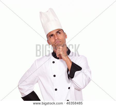Pensive Professional Chef Looking To Left Up