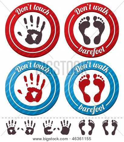 Vector conceptual feet and hand signs (set).
