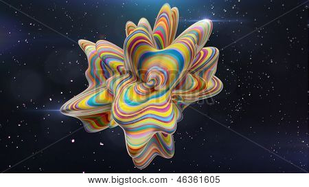 colorful abstract amorphous shape in space