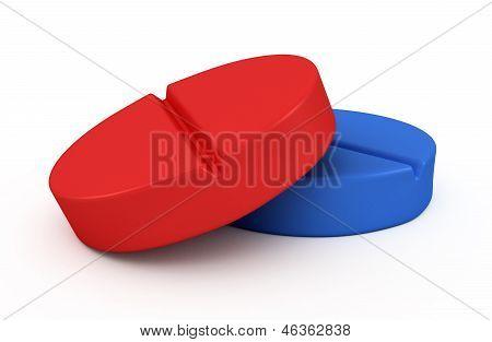 two medical pills - tablets 3d illustration