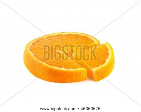 Pie chart of sliced orange. Business fruit concept