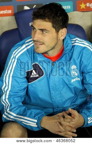 BARCELONA - MAY, 11: Iker Casillas of Real Madrid during the Spanish League match between Espanyol and Real Madrid at the Estadi Cornella on May 11, 2013 in Barcelona, Spain