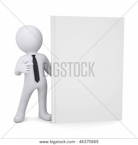 3d white man points a finger at the book
