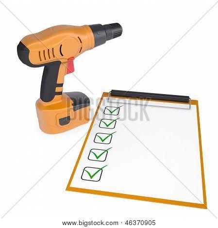 Orange screwdriver and a checklist