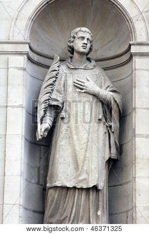 St. Stephen at the facade of the Saint Etienne du Mont Church, Paris.