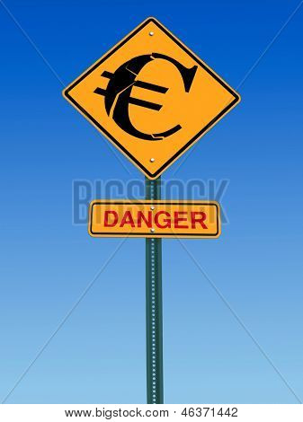 conceptual sign with euro symbol and danger warning over blue sky