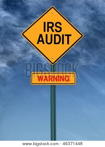 warning irs audit conceptual road sign over sky