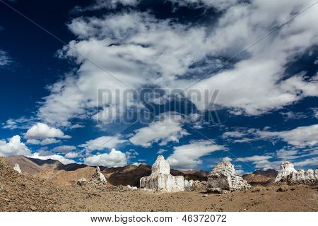 Whitewashed chortens (Tibetan Buddhist stupas). Ladakh, Jammu and Kashmir, India