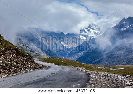 Road in Himalayas. Rohtang La pass, Himachal Pradesh, India