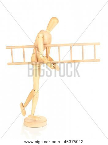 Wooden man carrying heavy ladder isolated on white