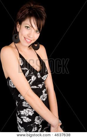 Beautiful Smiling Lady Leaning Against The Picture Frame