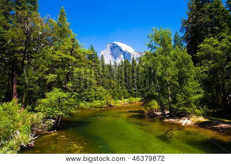 Merced River with Half Dome in background  in Yosemite National Park,California,USA