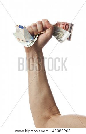 Hand of male caucasian crumpling a bunch of european currency bills, isolated
