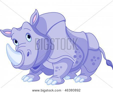 Illustration of cartoon funny  rhino