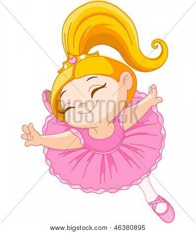 Happy little ballerina in ballet jump