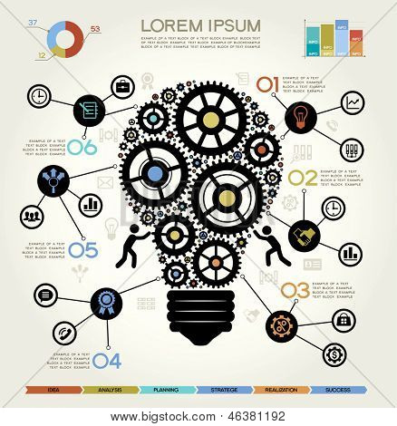 Moderne businessconcept, Info grafische elementen. Idee Lightbulb oplossing.