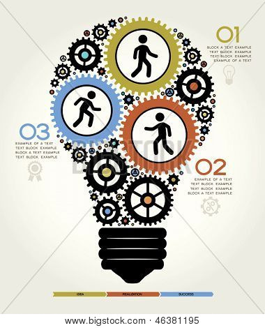 Modern Business Concept , Info Graphic Elements. Idea Lightbulb Solution.