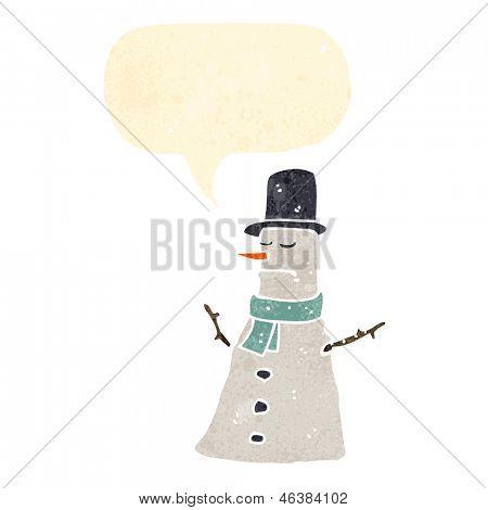 retro cartoon grumpy snowman